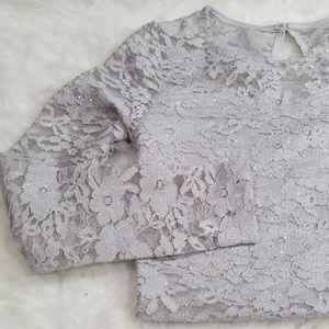 Speechless Kids lace grey crop top. Size 10